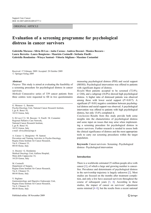 Evaluation of a screening programme